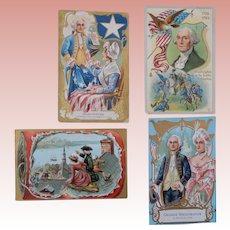 4 George Washington Patriotic Post Cards