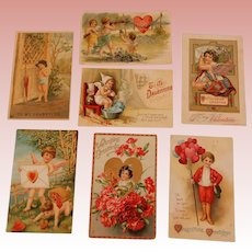 7 Valentine Postcards Early 1900's