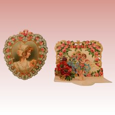 2 Sweet Floral Valentines with Dresden trim