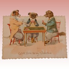 Nister Valentine Dressed Dogs Playing Cards