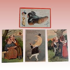 Four Embossed Comical Valentine Postcards