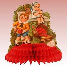 Embossed German Honeycomb Valentine