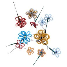 Bright Seed Bead Flowers - Red Tag Sale Item