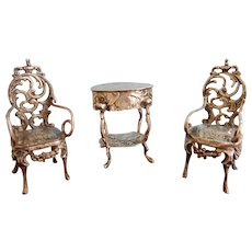 Three Pieces Silver Doll House Furniture