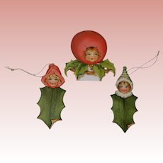 Three Holly  Christmas Paper Doll Tags