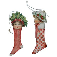 Two Christmas Doll Tags by Nister of London