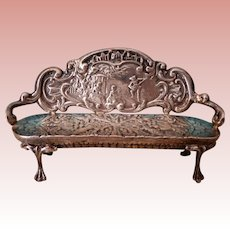 Miniature Sterling Settee for Doll House