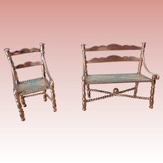 Silver Metal Miniature Chair and Bench