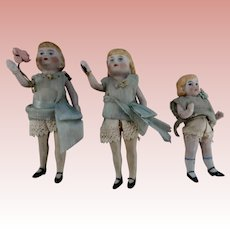 Three All Bisque Dollhouse Sisters