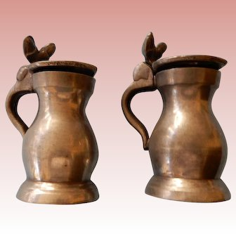 Miniature Pewter Tankards for Hutch