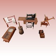 Six Miniature  Vintage Pieces for Doll Houses