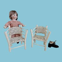 Two Miniature Wood and Wicker Chairs/ Doll size