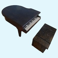 Miniature German Piano and Trunk Bench/Dollhouse/All Bisque