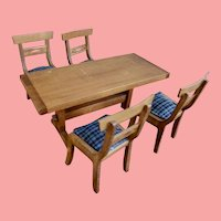 Miniature Vintage Table and Four Chairs/Dollhouse