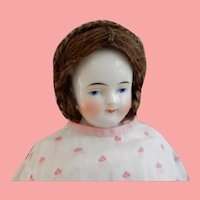 11 Inch Solid Dome China Kestner Early 1850's/Elaborate Wig