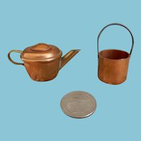 Two Miniature Copper Pieces for Dolls or Kitchen
