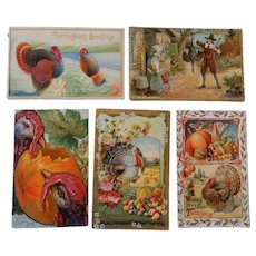 Five Colorful Thanksgiving Postcards