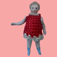 Liliputian Little Girl in Red -All Bisque