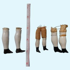 3 Pair Small Antique Lower Legs/China or Dollhouse Dolls
