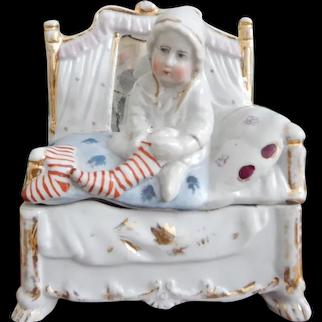 German Fairing Trinket Box with Charming Girl