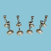 Nine Miniature Matching Dollhouse Candle Sticks
