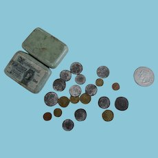 Very Miniature German Money in Tin for Dolly or Collectibles