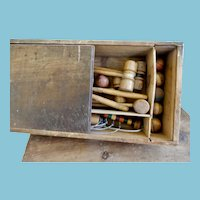 Miniature Croquet Set in Wood Box for Dolly