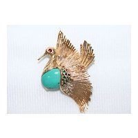 Vintage 14 Karat Yellow Gold Swan Bird Turquoise Brooch with Sleeping Beauty Turquoise Cab Body And Ruby Eye