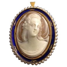 Vintage Large 18K  Yellow Gold Enamel  Italian Shell Cameo with Pearls Pendant Brooch