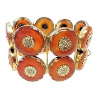 Stunning Vintage Chinese Gilded Sterling Silver Floral Repousse Carnelian Donut 2 Row Hinged Bracelet