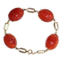 Art Deco 18K Yellow Gold Carved Carnelian Bird and Floral Link Bracelet
