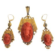 Exquisite Antique Victorian Etruscan Revival 18K Gold Carve d Coral Cameo Ariadne Pendant and Earrings Set