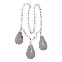 Chinese Sterling Silver Lavender Jadeite Jade Drop Pendant Necklace