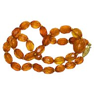 Antique Faceted Baltic Cognac Honey Golden Amber Beaded Necklace with Gilt Sterling Silver Filigree Clasp