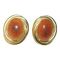 Vintage Large Chinese 14K Yellow Gold Russet Orange Red Brown Jadeite Jade Earrings with Posts 27.6 Grams