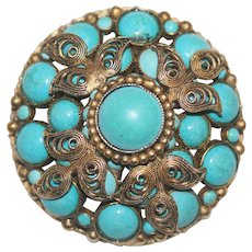 Large Fancy Pretty Vintage Gold Gilded Metal Filigree Faux Turquoise Signed Original by Robert Pendant Brooch Pin