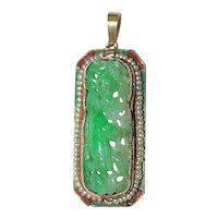 Art Deco French Enameled 14K Yellow Gold Carved antique Chinese Rich Apple Green Jadeite Jade Seed Pearl Bird Floral Pendant 10.8 Grams
