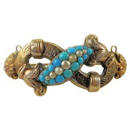 Antique Victorian Etruscan Revival 12K Yellow Gold Persian Turquoise Pearl Brooch Pin