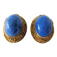 Vintage Chinese Gold Gilded Silver Filigree Lapis Lazuli Floral Earrings with Clips