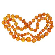 Exceptional Antique Large Baltic Cognac Golden Honey Amber Bead necklace 86 Grams