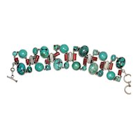 Vintage Sterling Silver Natural Turquoise and Red Coral Bracelet