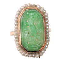 Art Deco Chinese 14K Yellow Gold Carved Jade Seed Pearl Ring Bird and Flower Floral Scene For Finger Size 6-1/2
