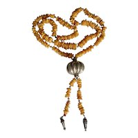"""Vintage Sterling Silver Baltic Butterscotch Amber Bead Knotted Pendant Necklace 34"""" long Plus the Pendant Weight 92.8 Grams"""