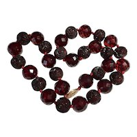 Vintage Large Carved Cherry Amber Bakelite and Faceted Knotted Bead Necklace 69 Grams