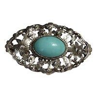 Antique Art Nouveau Silver Repousse Natural Blue Turquoise Brooch Pin