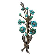 Antique Victorian Gilded Silver Persian Turquoise Flower Bouquet Accented with Seed Pearls