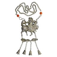 Antique Chinese Silver Sterling Silver Repousse Boy Riding on Chilong in the Clouds with Bell Charms Salmon Red Coral Pendant Necklace