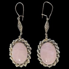 Art Deco Gold Gilt Silver Filigree Carved Rose Quartz Scarab with Seed Pearls Earrings with Wires