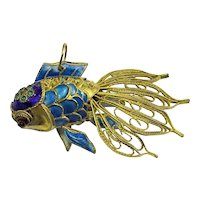 Large Vintage Chinese Gold Gilt Silver Filigree Enamel Koi Fish Pendant