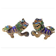Pair of Vintage Chinese Gold Gilded Silver Filigree Enamel Foo Dogs Chasing Balls